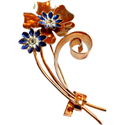 REDUCED Signed Coro Sterling Rose Gold Plated w/ Blue Enamel Flower Spray Brooch c. 40