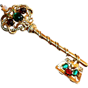 Signed Sterling Coro Craft Large Serpent Key Brooch circa 1940