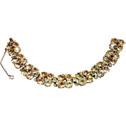 REDUCED Signed Eisenberg Original Drippy Clear Round Rhinestone Bracelet circa 1940