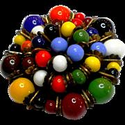 Small Unsigned Miriam Haskell Multi Color Glass Bead Clip circa 1940