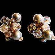 DeLizza & Elster Juliana Crystal, Rhinestone Ball & Silver Bead Earrings c. 1960