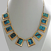 SALE Turquoise and 14K Necklace, C.1960.