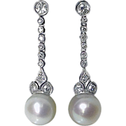 Period Platinum Diamond Pearl Earrings