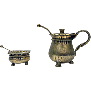 Aesthetic Movement Silver and Vermeil Mustard Pot and Salt, C.1890