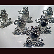 SOLD Frog Place Card Place Card Menu Holders Sterling