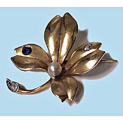 SALE French Art Nouveau flower Brooch, 18K  Sapphire, Diamond and Pearl, C.1900.