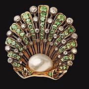 Antique Demantoid, Diamond natural Pearl Brooch England C.1890