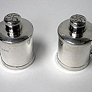 SALE Pair Antique Victorian tankard peppers, London 1885