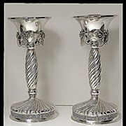 SOLD Pair of large Danish style Sterling Silver Candlesticks