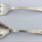 Carl Poul Petersen hammered Silver Salad Servers, Montreal. C.1930