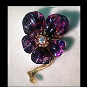 SALE French Carved Amethyst Diamond Flower Brooch C.1880