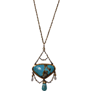 SALE Arts and Crafts Gold Turquoise and Pearl Necklace, English C.1900.