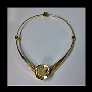 SALE Signed Leif Bergmark 18K citrine custom Necklace, Sweden,  20th century.