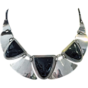 SOLD Fred Davis sterling obsidian mask Necklace, C.1930.