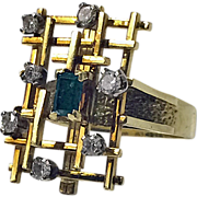 Abstract 18K, Emerald and Diamond Ring, English C.1970.