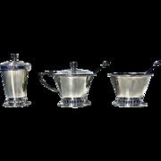 Art Deco style English Silver Condiment Set, Birmingham 1947-51, Thomas Ducrow