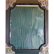 Large Japanese Sterling Silver, Enamel and Leather Photograph Frame, C.1900