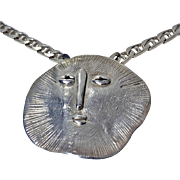 Walter Schluep handmade Sterling Silver Sun face Necklace.