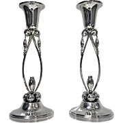Pair of Jensen style Sterling Silver Candlesticks, 20th century.