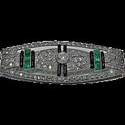 SALE Art Deco Platinum, Diamond, Emerald and Onyx plaque Brooch, France C.1910.