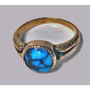 English Arts & Crafts Gold Turquoise ring, Birmingham 1906.