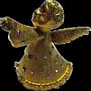 SALE Signed Dodds Angel Christmas Pin/Brooch Vintage 60's Pink/Blue Aurora Borealis Gold ...