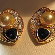 SALE Nolan Miller Earrings Heart Faux Sapphire & Sim Pearl Clips Gold Tone