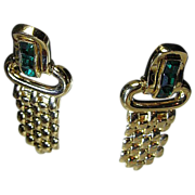 SALE Signed Givenchy Classy Dangles Emerald Green Rhinestone/Gold Tone Pierced Post Earrings