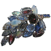 SALE Blues/Purple Multi-Colored Dimensional Rhinestone Leaf  Brooch/Pin