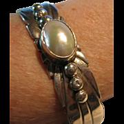 SALE Signed L. JAMES Navajo Native American Indian Bracelet 925 Sterling Silver & MOP
