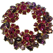 SALE Signed Trifari Vintage Rhinestone Flower Wreath Brooch/Pin Fuchsia/Purple/Lavender