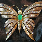 SALE Gorgeous Signed Panetta Vintage Gold Tone & Rhinestone Butterfly Brooch/Pin