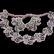SALE Vintage SET Necklace & Earrings Signed Tara Black Enamel & Smoky Rhinestone Silve