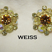 SALE Sparkling Weiss Dainty Rhinestone Earrings Yellow Aurora Borealis & Citrine Beads Gol