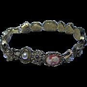 SALE Vintage Unsigned Goldette Slide Bracelet Cameo, Insect, Flowers Gold Tone