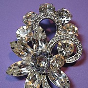SALE Sparkling Rhinestone Signed Eisenberg Ice Vintage Brooch/Pin Bridal Flower & Ribbon