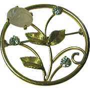 SALE Krementz Dainty Flower Circle Brooch/Pin Pink Agate Scarab & Rhinestone Gold Tone