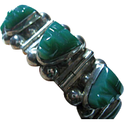 SALE Vintage Sterling Silver 925 Mexican Chunky Bracelet Green Onyx Tribal Faces
