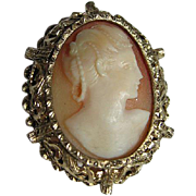 SALE Hand Carved Shell Cameo Ornate Sterling/Gold Tone Frame Brooch/Pin/Pendant