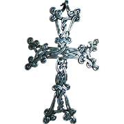 SALE Sterling 925 Silver Fine Intricate Celtic Knot Cross Pendant/Necklace
