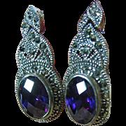 SALE Sterling Silver 925 Dressy Multi-Facited Purple Zircon Marcasite Dangle Pierced Post ...