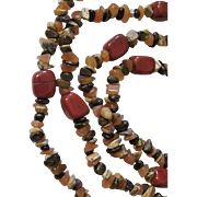 SALE X-Long Fall Colors Necklace Red Jasper, Carnelian, Brown Genuine Stones
