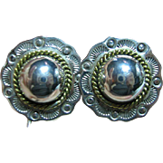 SALE Vintage Mexican 925 Sterling Silver & Brass Puffed Concho Style Clip On Earrings