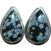 SALE Vintage Snowflake Obsidian Big 925 Sterling Silver Mexican Pear Shape Clip-On Earrings