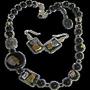 SALE Murano Glass Venetian Italian Black Gold/Silver Foil Beads Necklace & Pierced Earrings Se
