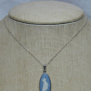 SALE Blue & White Wedgwood Jasper Cameo 925 Sterling Silver Pendant/Necklace