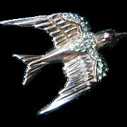 SALE Vintage 40's Corocraft Sterling Swallow Bird Pin/Brooch