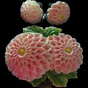 SALE Vintage Celluloid Delicate Pink Flower Pin & Screw Back Earrings Set