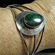 SALE Sterling Silver 925 & Malachite Modern Open Cuff  Bracelet Adjustable Small-Lg