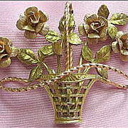 SALE Signed Krementz Rose Flower Basket Pink & Gold Tone Pin/Brooch
